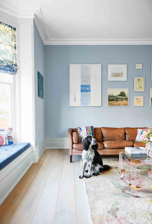 идеи стен галереи на бледно-голубом фоне